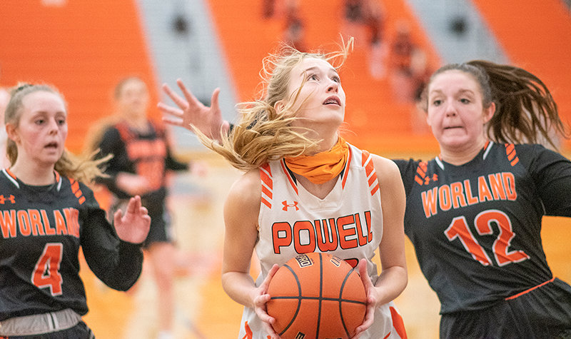 PHS freshman Addy Thorington prepares to shoot a layup Saturday against Worland. The night before the loss to Worland, PHS surpassed its 2019-20 win total, defeating Thermopolis 63-58 for its fourth win of the year.