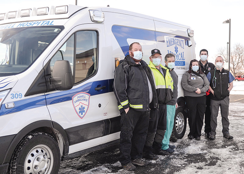 A new sprinter van provides Powell Valley Healthcare emergency services personnel with a low-cost transport vehicle. Pictured from left are: Josh Chavarria, Scott Bagnell, Dr. Aaron Billin, Jess Mathews, Ben Wetzel, and Dr. Adam Childers.