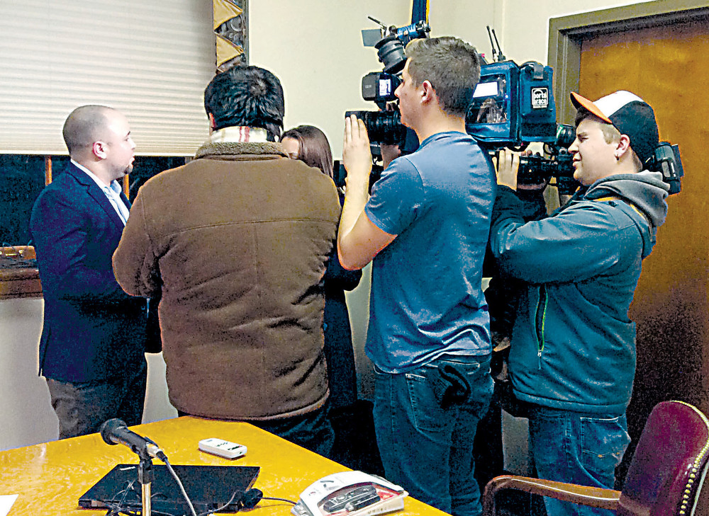 Middletown Borough Council President Ben Kapenstein talks to the media after a meeting about the future of the police department last month.