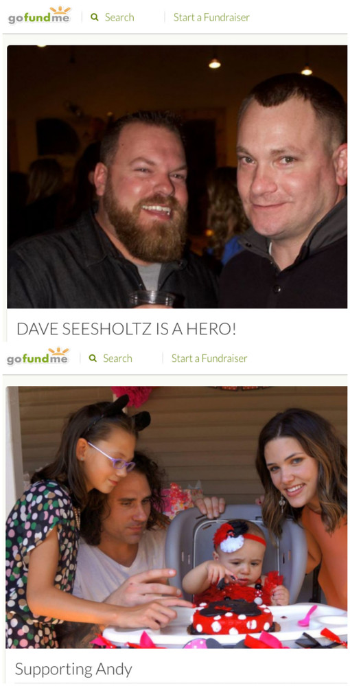 The screen captures show the gofundme pages for Dave Seesholtz, top, and Andy Cole.