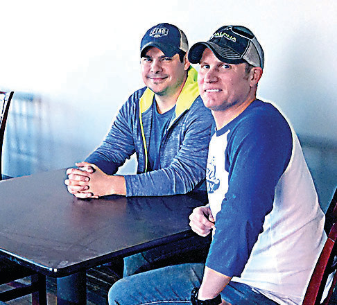 Two of the four Tattered Flag partners - Matt Fritz (left) and Pat Devlin - take a break in one of the upstairs rooms of the brew pub restaurant soon to be open to the public on the second floor of the Elks Building in late 2016.
