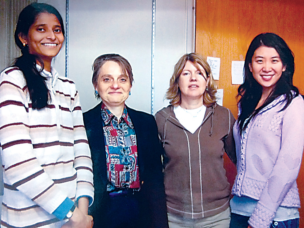 Doctoral student Debolina Ray, Susannah Gal, technical assistant Nancy Monteith, and master's student Yuanyuan Wang worked on projects at Binghamton University in the early 2010s, examining a cancer protein and determining how it functioned.
