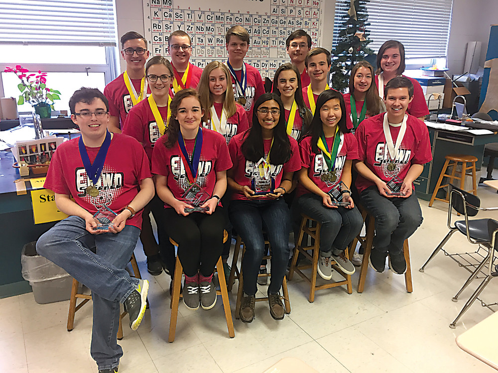 EAHS's competition science team is, first row, Conor Larison, Meili Kenley, Aparna Paul, Madi Ebersole and Nick Sieber. Second row, Kaitlyn Babinchak, Kaitlyn Welch, Hannah Kuntz, Liam Hanley, Brooke Nicodemus, Sadie Seaman. Third row, Solomon Heisey, Gabriel Hurst, Simon Munyan and Thomas Maloney.