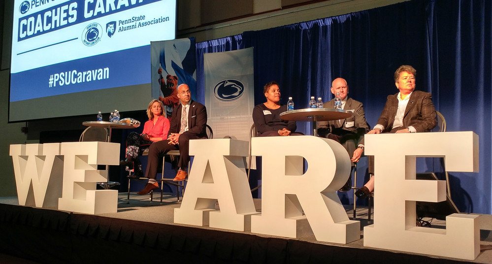 Penn State head football coach James Franklin, second from left, visited Penn State Harrisburg on Tuesday, May 9, as part of the Coaches Caravan that traveled across the state last week. With him were, from left, women's golf head coach Denise St. Pierre, women's basketball head coach Coquese Washington, men's gymnastics head coach Randy Jepson and athletic director Sandy Barbour. Read more about Franklin's visit on page B1.