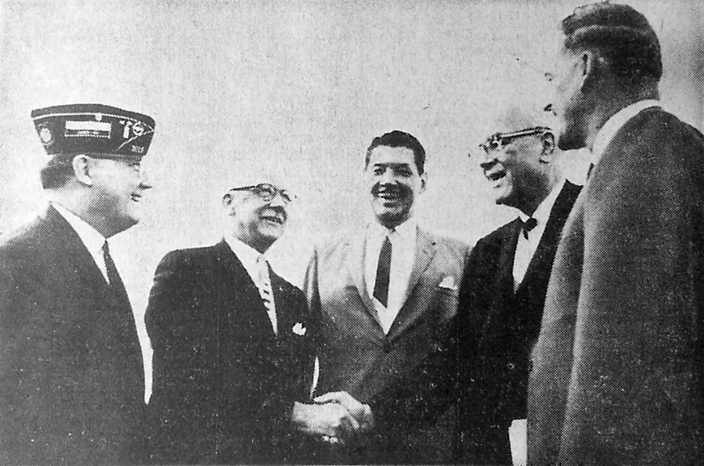 A phase-out protest meeting was held Saturday night at Memorial Field to voice objections to the Department of Defense plans to move Olmsted Air Force Base. Pictured from left, Harry Raymond, master of ceremonies; Perry Simms, national vice president of the NFFE Union; Charles T. Snowden, president of the Elizabethtown Chamber of Commerce; Congressman John C. Kunkel; and Edward W.R. Blandy, president, local chapter 776.