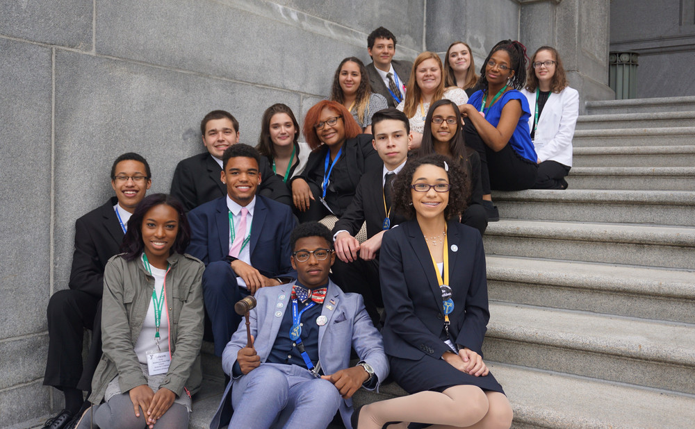 Pictured are the members of the Middletown Youth & Government Club. Row 1 are Celeste Osayi, Zeryab Ibrahim, and Angelina Torres. Row 2 are Terrance Jefferson and Matt Frehse. Row 3 are Jared Knaub, Lilly Fager, Tyressa Smith, Eddie Evans, and Aayushi Patel. Row 4 are Melanie Rentas, Alexis Fischer, and Khasai Cornish. Top row are Levi Buckwalter, Valarie Wilmath, and Stephanie Finsterbush.