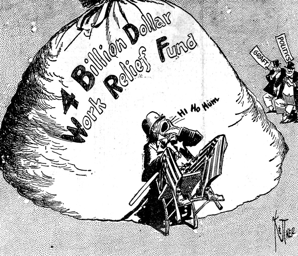 "Editor's note: This front-page editorial cartoon bore the headline ""Better Keep Away,"" and illlustrated that even more than 80 years ago. politics and graft were threats to a huge government program."