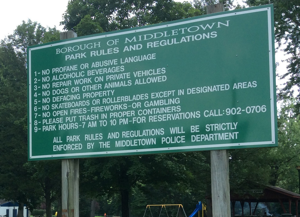 This sign at Hoffer Park says that park hours are from 7 a.m. to 10 p.m. The hours would change to being between dawn and dusk under a proposal sought by Public Works Director Greg Wilsbach that borough council may approve for advertisement at its Aug. 2 meeting.