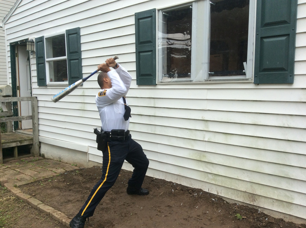 Middletown Police Chief George Mouchette tried several times without success to break the polycarbonate-based product by smashing it with an aluminum baseball bat.