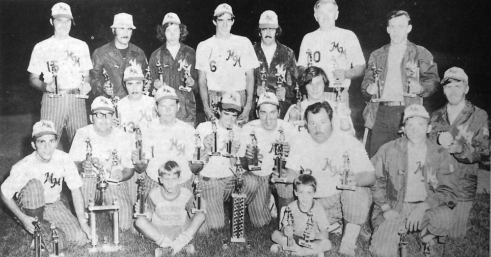 Middletown Merchants won the local Softball League playoff crown last week by dumping Elks Lodge No. 359 in two straight games. The twin triumphs compensated for their loss of first place to the Elks the previous week. Pictured in the team photo, kneeling, left to right, are Gerry Hartman, Vaughn Burkett, assistant coach, Ed McCormick, Joe Hahn, Tom Shank, Larry Stauffer, Fred Krupilis, Ed Hoffman, coach, Greg Hartman and Jack Kern. Standing are George Fach, Charlie Sinkovitz, Tim Gutzler, Ed Laudermilch, Jay Stauffer, Ray Cain and Paul Leggore. Bat boys are Don Nagle and Todd Leggore.