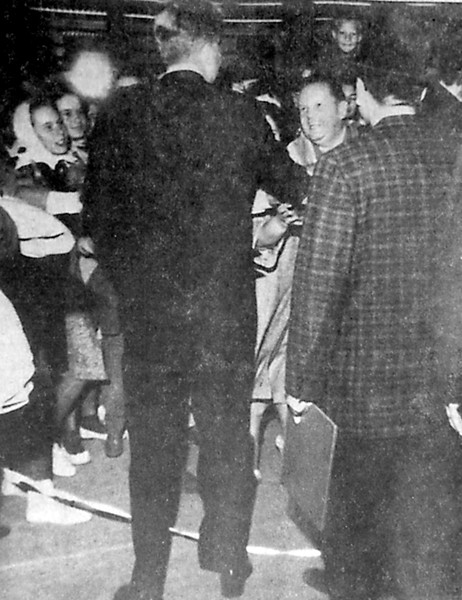 President John F. Kennedy took time to shake hands with spectators at Olmsted Air Force Base flying operations last Thursday, Sept. 20, shortly after a helicopter trip from the Farm Show Building where he addressed Pennsylvania Democrats. The photoshows him shaking the hand of Wellington York, of Middletown, a base employee.