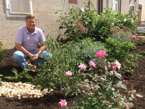 Middletown Public Works Director Greg Wilsbach poses among the native plants in the rain garden installed behind the Municipal Building on West Emaus Street.