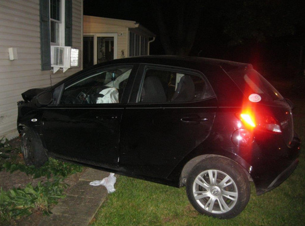 A car struck and severely damaged a home on Oberlin Road on Sept. 22.