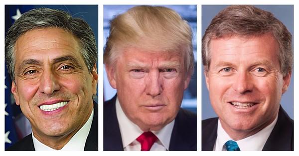 U.S. Rep. Lou Barletta, President Donald Trump and U.S. Rep. Charlie Dent
