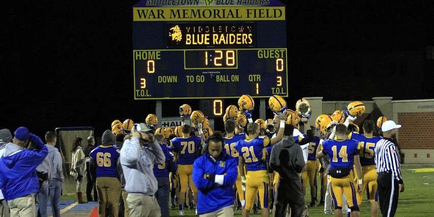 War Memorial Field, home to the Blue Raiders, has seen plenty of action recently — and not just by the football team, seen here against Milton Hershey in October.