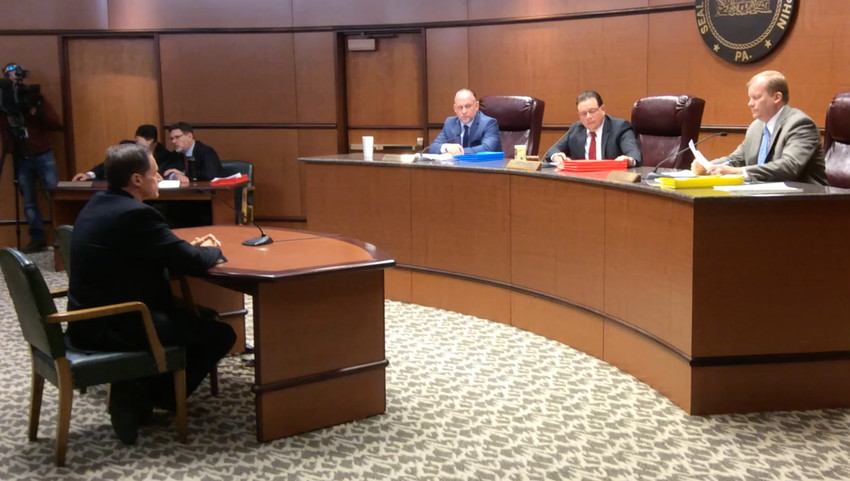 Three Mile Island Site Vice President Ed Callan, left, addresses Dauphin County commissioners on Nov. 29 about extending through 2019 the payment in addition to taxes agreement. Commissioners from left are George Hartwick, Chairman Jeff Haste and Mike Pries.