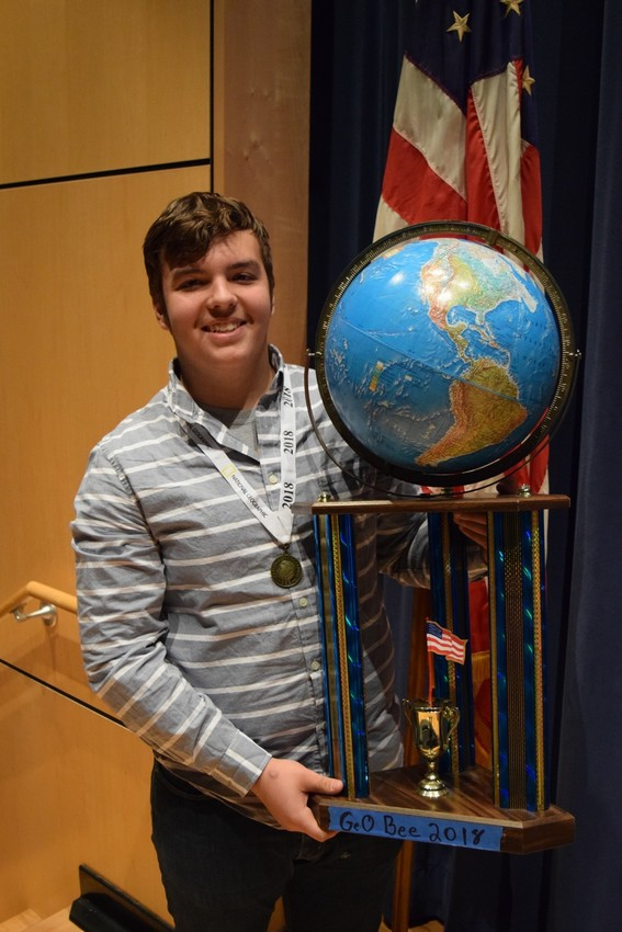 Aiden Cannon won the annual National Geographic Geography Bee on Tuesday at Middletown Area Middle School.