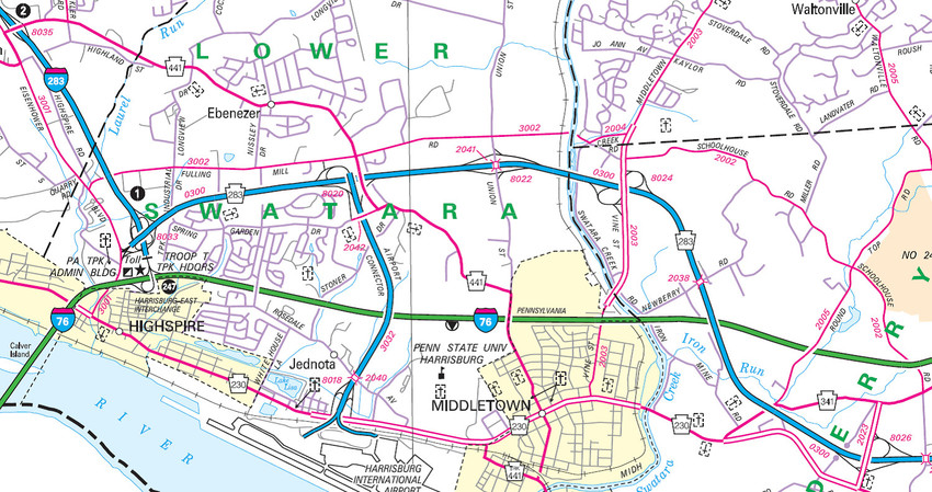 Toll House Road is in the lower right corner and is designated in red as State Route 2023. It provides a connection between Route 283 and Route 230 and also Route 341.