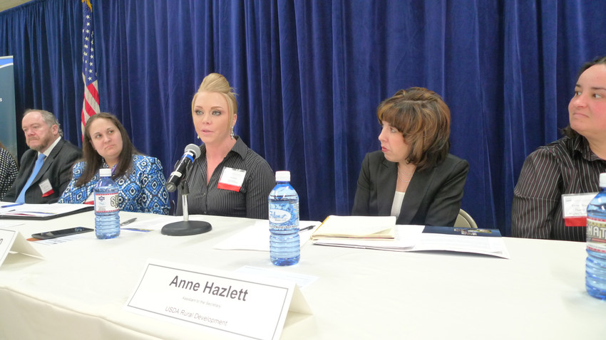 Alexis Johnson tells her story of overcoming her heroin addiction. Right of Johnson is Anne Hazlett, Assistant to the Secretary for Rural Development for the U.S. Department of Agriculture. Left of Johnson is Jennifer Smith, acting secretary of the Pennsylvania Department of Drug and Alcohol Programs.