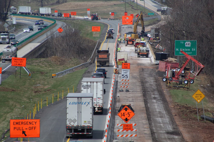 A look at construction on Route 283 off the overpass on Vine Street on April 6.