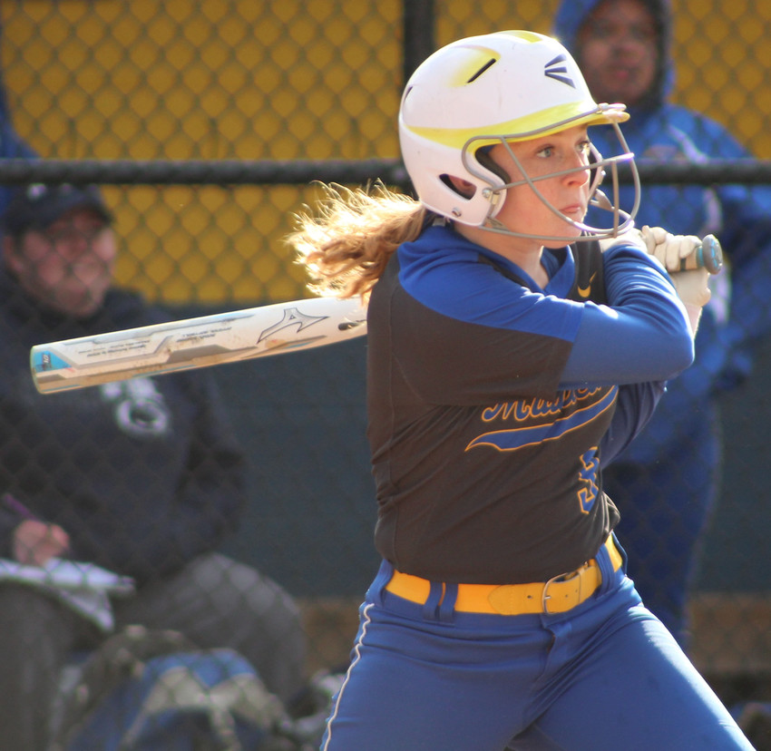 Middletown's Jordyn Dupes bats against Camp Hill during a softball game on April 10, 2019.