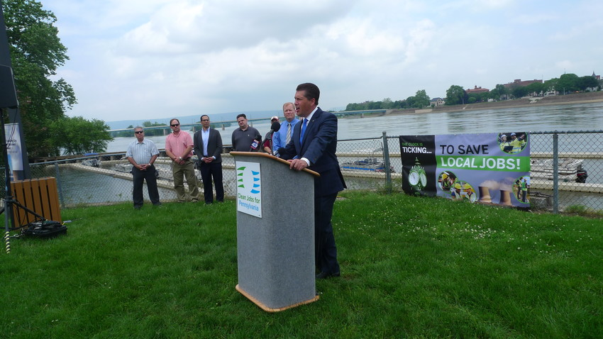 State Rep. Tom Mehaffie, R-Lower Swatara, speaks at the rally on City Island held by the Clean Jobs for Pennsylvania coalition.