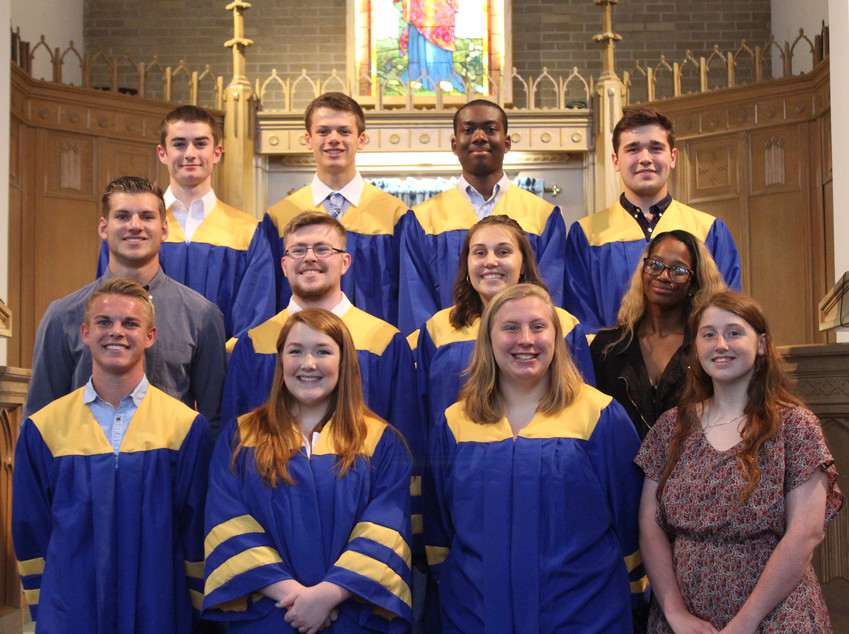 The Middletown Area High School Class of 2018 baccalaureate was held Sunday at Middletown First Church of God. Those in attendance included: front row, left to right, Jacob Spear, Zoey Bright, Morgan Miller and Deborah Gantz. Second row, Matthew Schopf, Sean McGovern, Shelby Luther and Khasai Cornish. Third row, Mark Cowen, David Alcock, Jacob Idowu and Jared Knaub.
