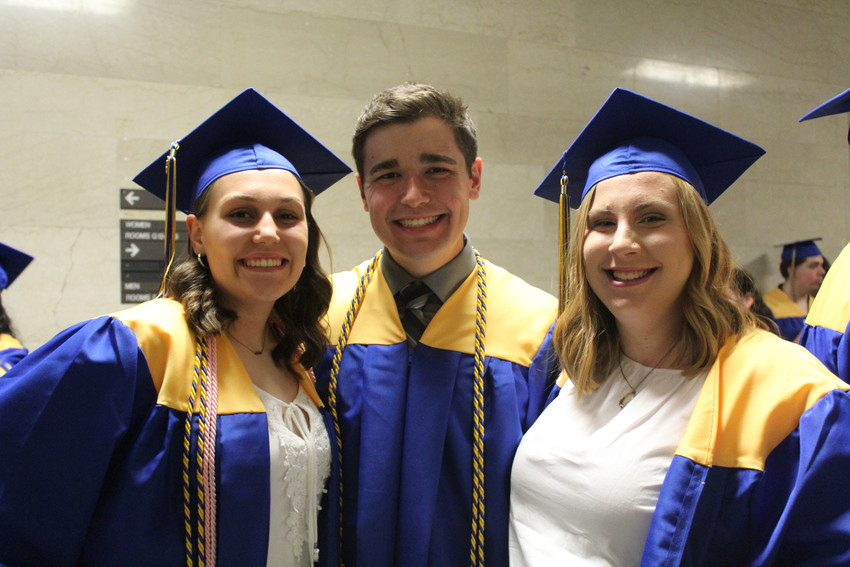 Shelby Luther, Jared Knaub and Morgen Miller graduated on June 6.