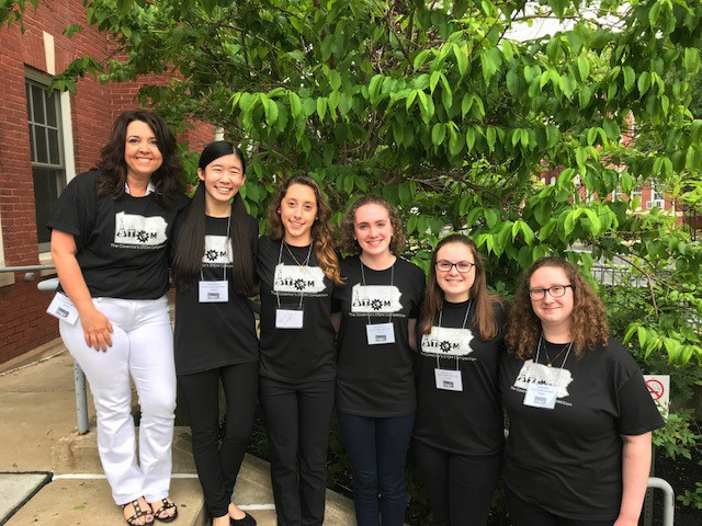Coach Beth Kirman and students Hailey Foreman, Morgan Cummings, Annie Dickinson, Kelly Barr, and Abbie Natkin recently competed in the statewide Governor's STEM Competition at Thaddeus Stevens College.