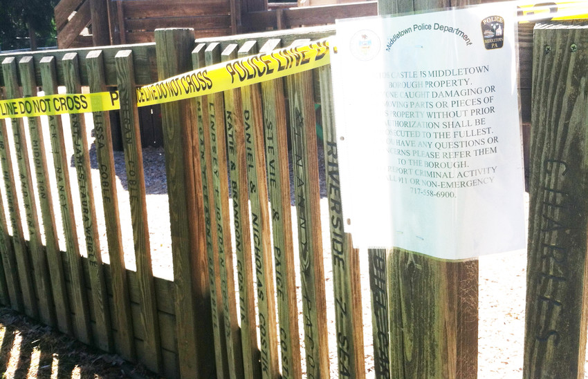 Names appear on Kids Kastle fence posts in honor of those who donated to build it in the early 1990s. A sign from police warning people to stay off Kids Kastle also can be seen.