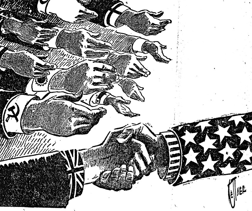 "EDITOR'S NOTE: As we've pointed out in previous editions of From the Vault, very few photos appeared in newspapers from this era. This illustration appeared on the front page, as cartoons often did from this time. It appeared under the headline ""Unity."" This was appropriate in the days following the end of World War II. V-E Day, or Victory in Europe Day, was only a few months earlier, on May 8. Less than a month after this edition of the Press & Journal was published, President Harry S. Truman would drop atomic bombs on Hiroshima (Aug. 6) and Nagasaki (Aug. 9)."