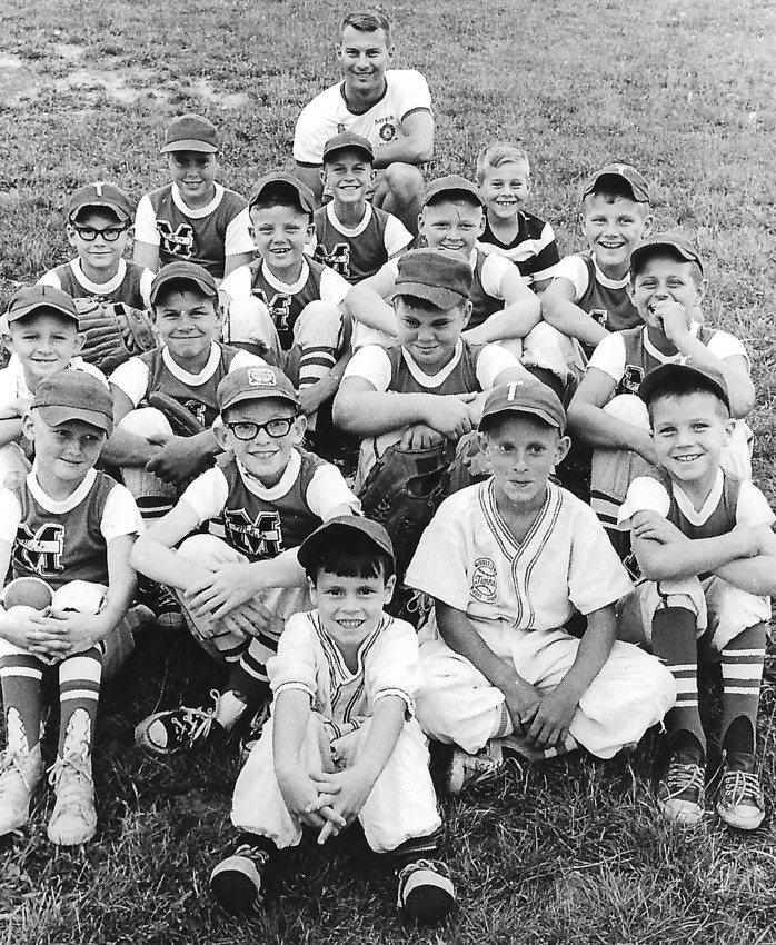 The Twins, who went undefeated for the season, are pictured. Ronnie Nolte is the bat boy in front. The first full row, from left, Donald Shipley, Ken Shope, Ken Shaknitz, Michael Barton; second row, Mike Spittle, Gary Redman, Don Gummo, Todd Crow; third row, Kenneth Nolte, Michael Ridley, Fred Shipley, Mike Lebo; fourth row, Tom Gummo, Dennis Redman, Carl Lebo Jr. Carl Lebo, manager, is at rear of photo.