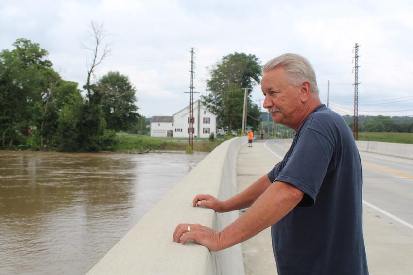 Craig Cooper ventured down to the Route 230 bridge to look at the high Swatara Creek last week.
