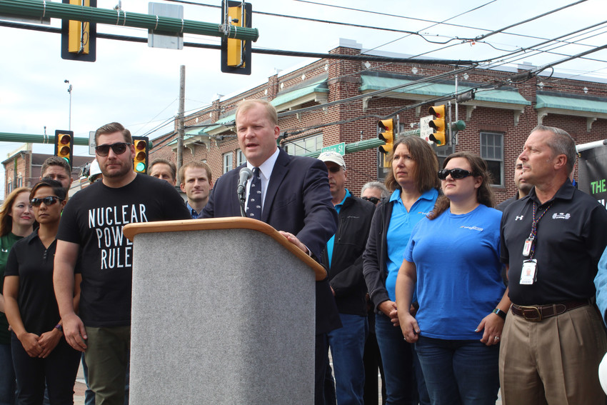Clean Jobs for Pennsylvania co-chairman and Dauphin County Commissioner Mike Pries, surrounded by Three Mile Island employees, speaks during a rally on the effect of closing Three Mile Island on Spet. 27 in Middletown.