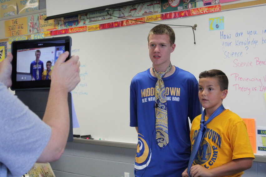 Tim Nevil and Tim Moore film a new episode of Raider Newscast with Tim & Tim on September 6.