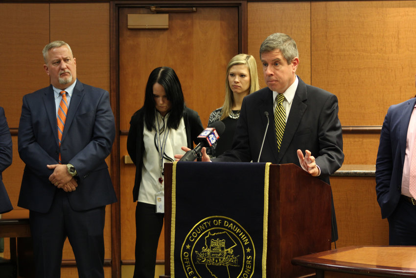 Dauphin County District Attorney Fran Chardo speaks about a case of financial exploitation involving a Lower Swatara Township man during a press conference at the Dauphin County Administration Building on Oct. 22.
