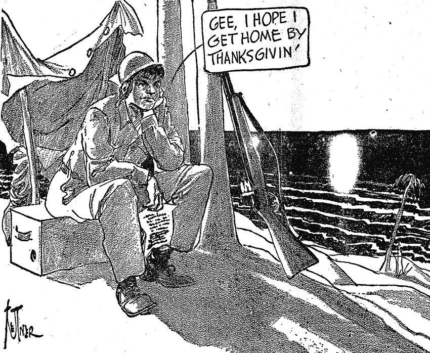Editor's note: This cartoon appeared on the front page of the Press & Journal, expressing the sentiments of many U.S. soldiers around the globe as World War II was coming to a close.