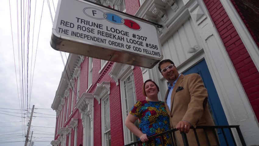 Stacy and Seth Anthony stand outside the Odd Fellows lodge on West Emaus Street that has been home to the lodge in Middletown since the 1880s.