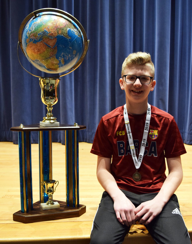 Eighth-grader Jordan Miller won the Middletown Area Middle School National Geographic Geography Bee on Jan. 8.