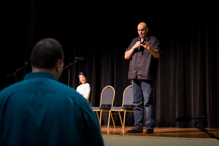 Lt. Gov. John Fetterman held the launch of his statewide listening tour to gather input from Pennsylvanians about the possibility of legalizing recreational marijuana Monday at the Jewish Federation of Greater Harrisburg.