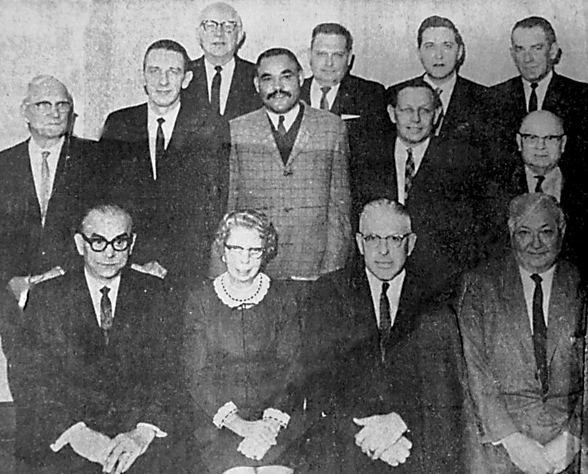 The Middletown Borough Council and its officers posed for this picture in January 1968. Seated from left are AI Legoza, mayor; Mrs. Lucy Fagley, secretary; George Merkel, borough manager; and Joseph Nissley, solicitor. The council members are, second row, from left, George Mansberger, First Ward; Edward Willenbecher, Second Ward; Robert Reid, First Ward; Elmer Givler, First Ward; and Chester Stump, Second Ward. In the back row are John Lutz, Third Ward; David Galloway, Third Ward; C. Edwin Gaster, Second Ward; and Samuel Gruber, Second Ward.