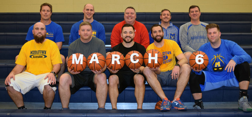 The Middletown faculty team includes, back row, Dave Martin, Matt Kleinfelter, Chris Sattele, Mike DeFilippo and David Coffey and, front row, Trent Baker, Jeff Vaughn, Josh Rytel, Jesse Woodrow and Chris Bradford. Not pictured are Charlie Bowen, Chelton Hunter, Aaron Lupia, Mike Lupia and Jon Miller.