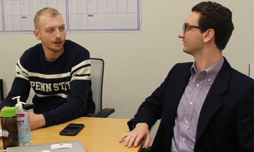 Penn State students Riley Cagle and Ken Gatten III meet with the Press & Journal on Feb. 1.