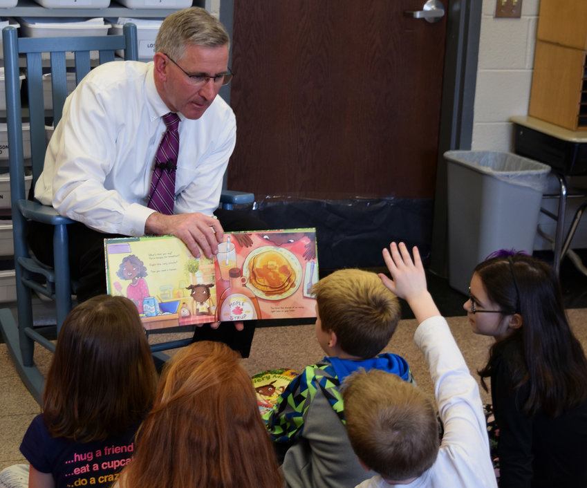 State Agriculture Secretary Russell Redding reads to Kunkel Elementary School second-graders on Monday as part of Pennsylvania Ag Literacy Week.