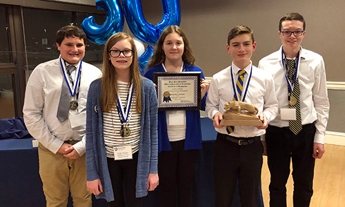 "The Penn State Harrisburg Office of Multicultural Recruitment and Community Affairs hosted its 30th annual High Achievers Academic Bowl on March 14, and Middletown Area Middle School's Quiz Team came out on top. The team, above, is Joe Korsak, Taylor Witmyer, Jade Lesisko, Jaron Imler and Ethan Witmyer. Quiz questions focused on the accomplishments of black Americans and information about other cultures as found in three sources: ""The Black Americans of Achievement Game,"" ""African-American Facts and Trivia"" and the ""African, Asian and Hispanic Collections."" Other teams were from Central Dauphin, Central Dauphin East, Harrisburg Math & Science Academy, Nativity and Steelton-Highspire."