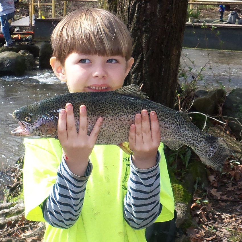 Levi Mader, 6, of Lewistown, displays his prize catch, a rainbow trout 17 inches in length. Levi was the first-place winner in the 2019 Sportsmen Limited Kids Trout Derby's ages 2-6 category.