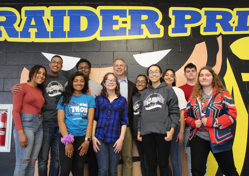 Members of the MAHS Youth and Government Club met with U.S. Rep Scott Perry on Friday. Top row: Jocilyn Koser, Terrance Jefferson, Elijah Smith, Perry, Aayushi Patel, Alexis Jefferson and Dylan Bernola. Front row: Isha Shah, Stephanie Finsterbush, Angie Torres and Cassidy Anderson.