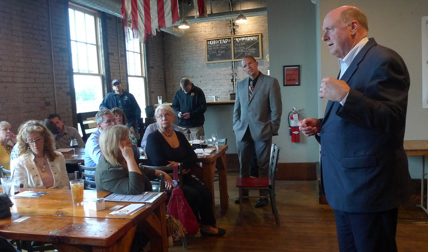 David Black, president and CEO of the Harrisburg Regional Chamber and Capital Region Economic Development Corp., talks to members and guests of the Middletown Business Association during the association's meeting in Middletown on May 9.