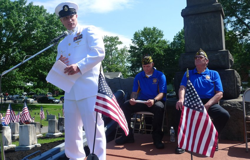 Navy Chief Petty Officer Patrick Devlin, a Navy SEAL, was guest speaker for the Memorial Day ceremony in Middletown Monday.