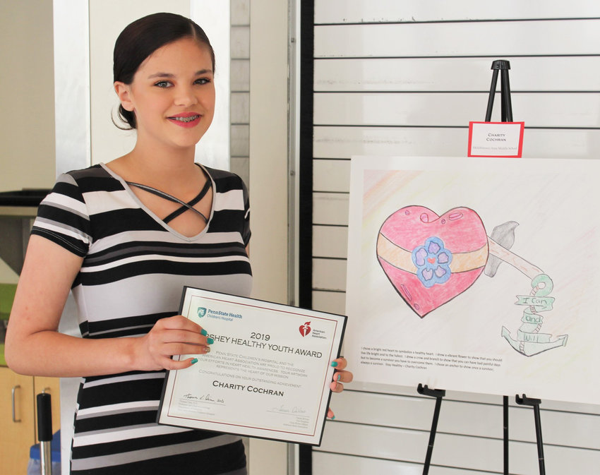 Middletown Area Middle School eighth-grader Charity Cochran won first place in an art contest held by the American Heart Association and Penn State Children's Hospital.